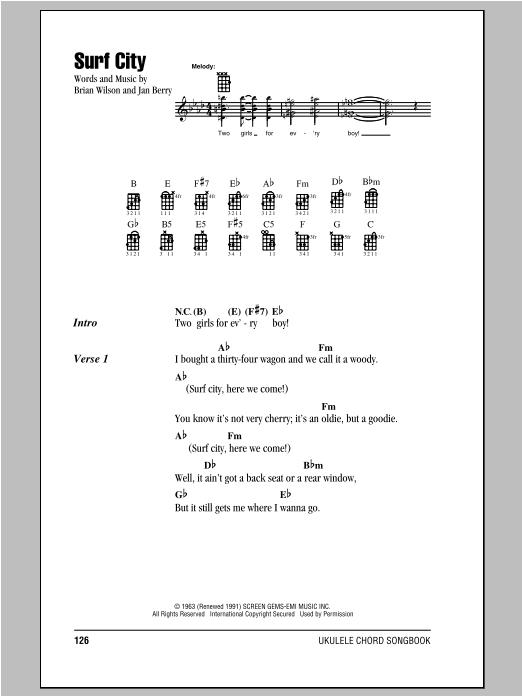Jan Dean Surf City Sheet Music Notes Chords Printable Rock