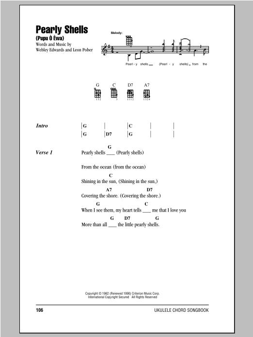Don Ho Pearly Shells Pupu O Ewa Sheet Music Notes Chords