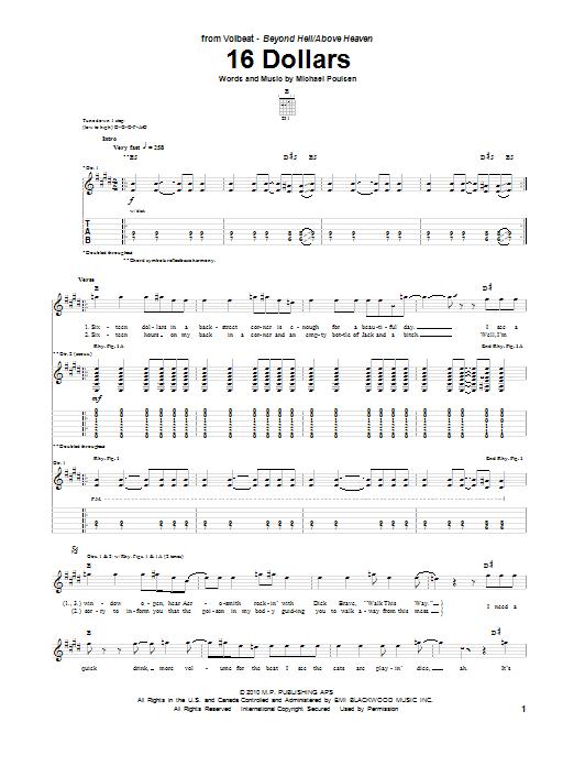 Volbeat 16 Dollars Guitar Tab Sheet Music Piano Notes Chords
