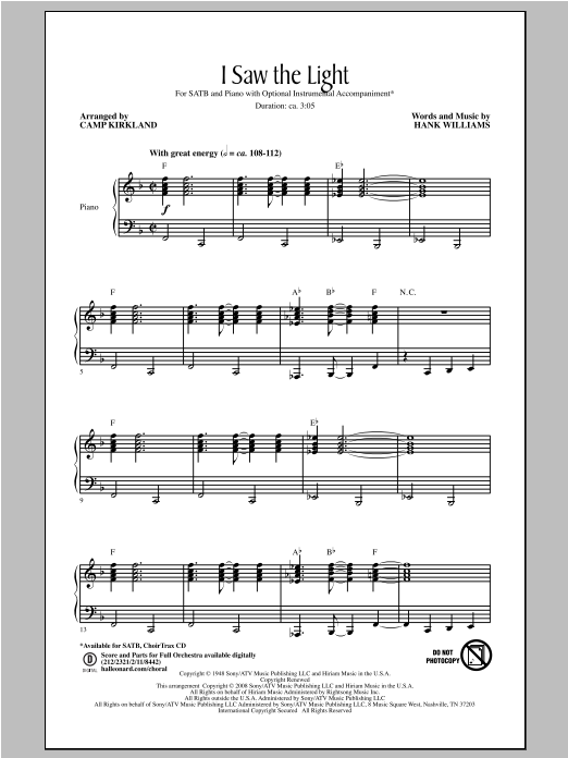Hank Williams 'I Saw The Light' Sheet Music Notes, Chords | Download  Printable SATB - SKU: 95533