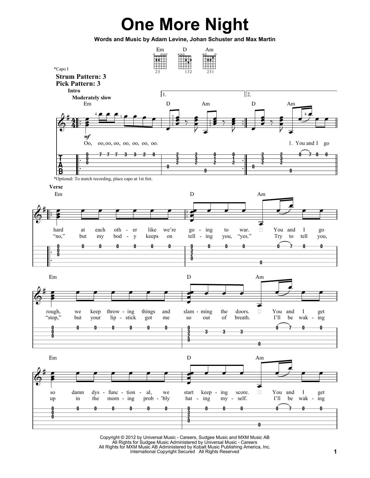 Maroon 5 One More Night Sheet Music Notes Chords Printable Rock
