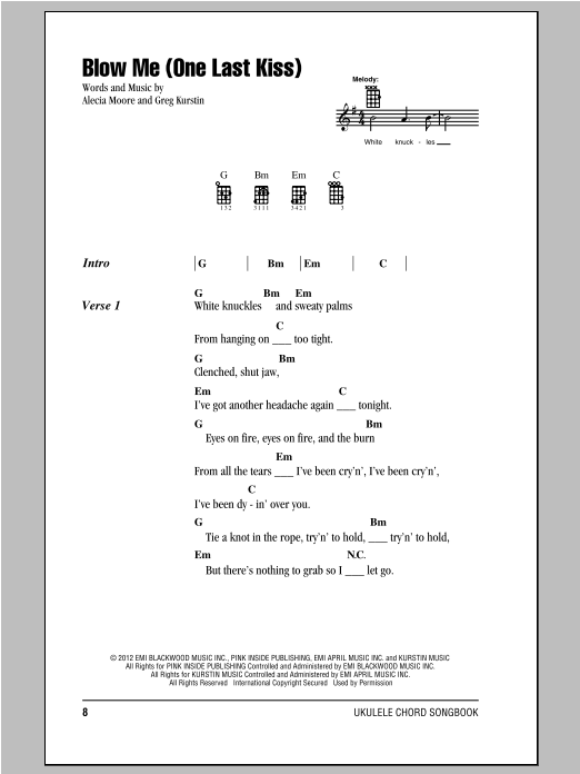 Pink Blow Me One Last Kiss Sheet Music Notes Chords Printable