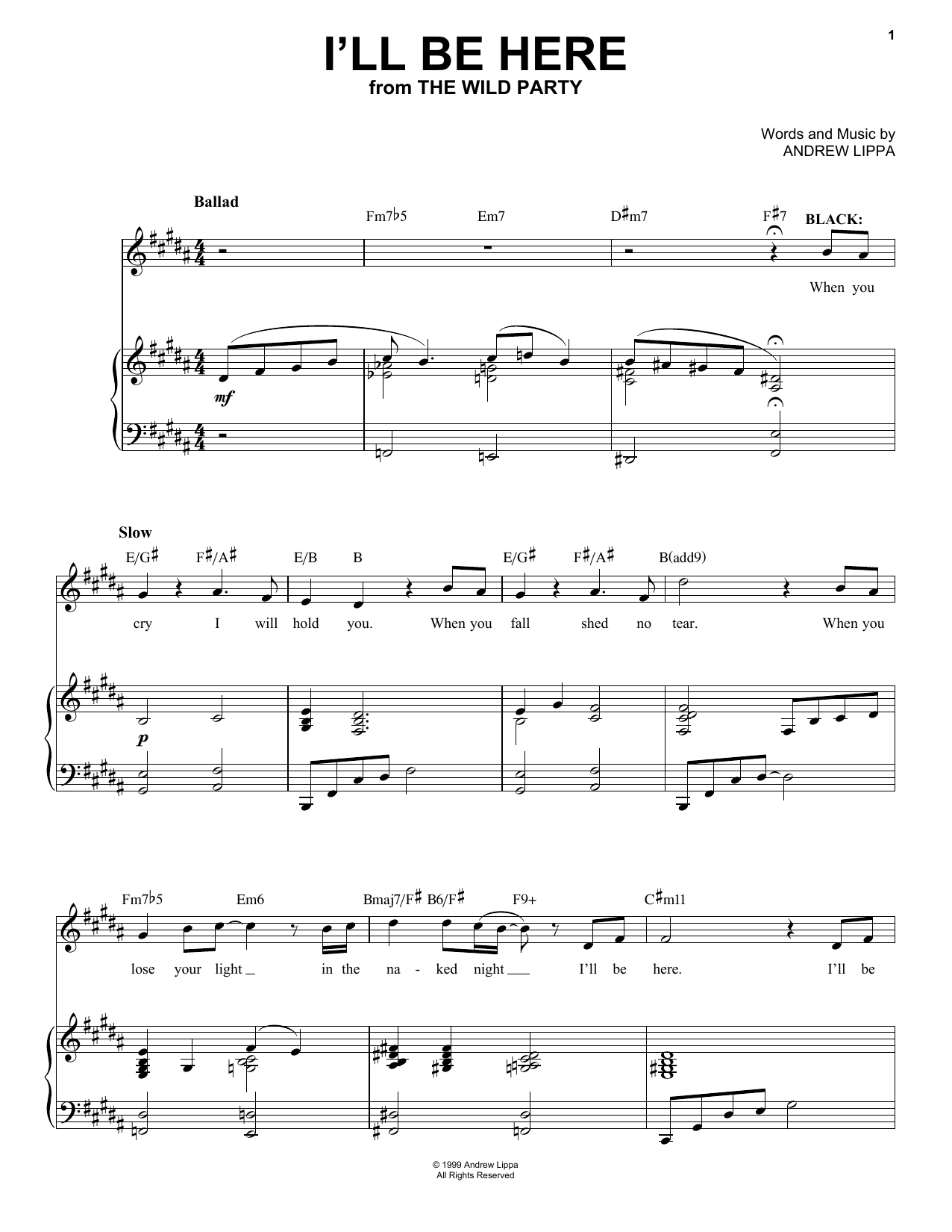 Andrew Lippa Ill Be Here Sheet Music Notes Chords Printable
