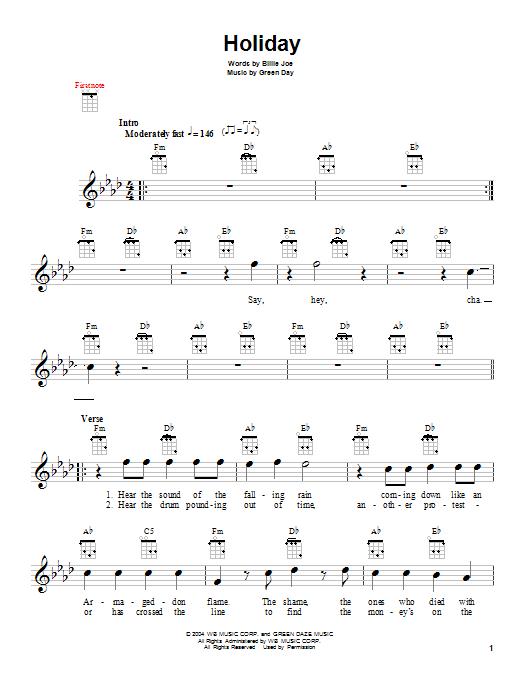 Green Day Holiday Sheet Music Notes Chords Printable Rock