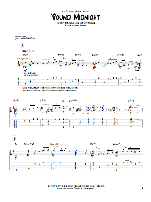 Pat Metheny Round Midnight Sheet Music Notes Chords Printable