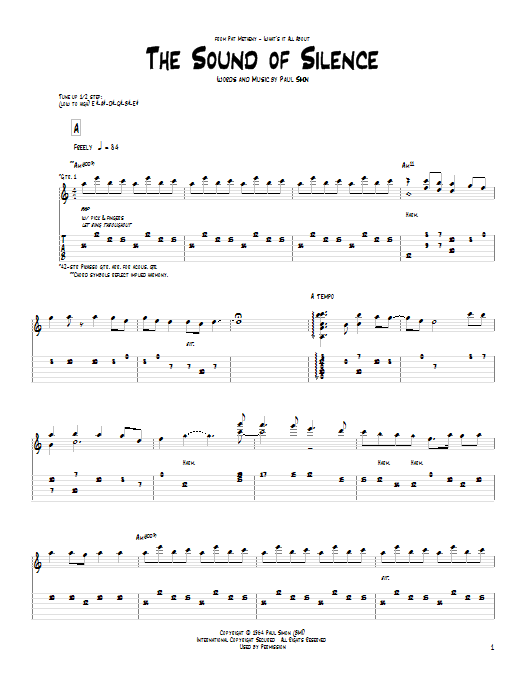 Pat Metheny The Sound Of Silence Sheet Music Notes Chords
