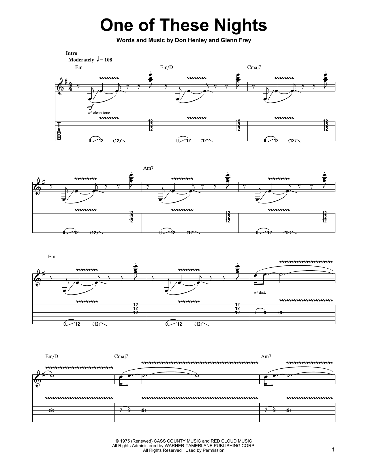 Eagles One Of These Nights Sheet Music Notes Chords Printable