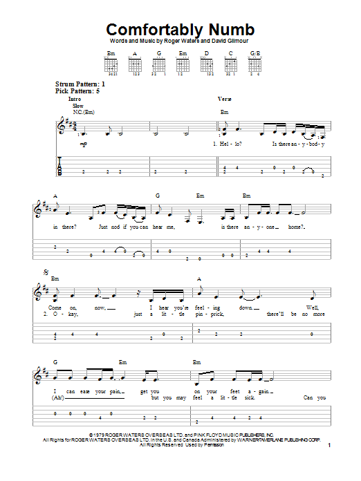 Pink Floyd Comfortably Numb Sheet Music Notes Chords Download Printable Easy Guitar Tab Sku 96971