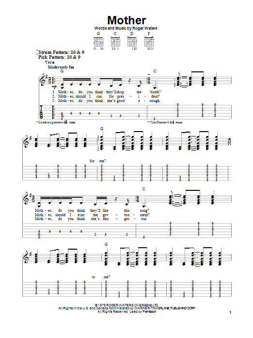 Pink Floyd Mother Sheet Music Notes Chords Printable Rock Easy