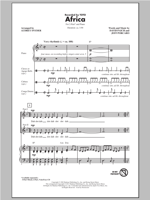 Toto Africa Arr Audrey Snyder Sheet Music Notes Chords