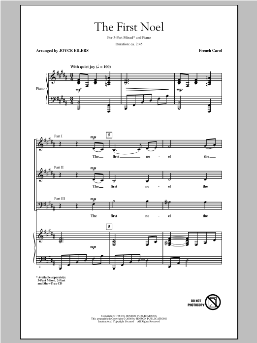 Traditional Carol The First Noel Arr Joyce Eilers Sheet Music