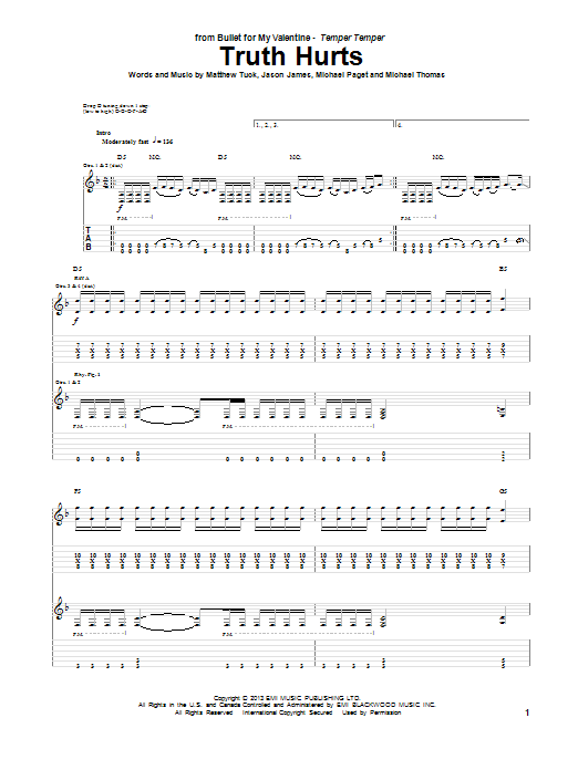Bullet For My Valentine Truth Hurts Sheet Music Notes Chords