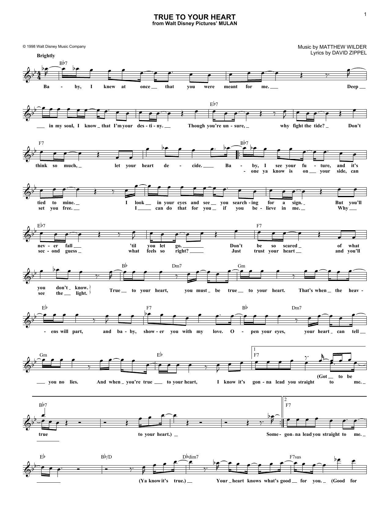 98 Degrees & Stevie Wonder True To Your Heart (from Mulan) sheet music notes and chords. Download Printable PDF.