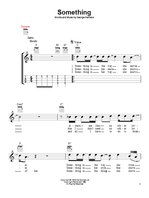 The Beatles Something Sheet Music Notes Chords Printable Rock