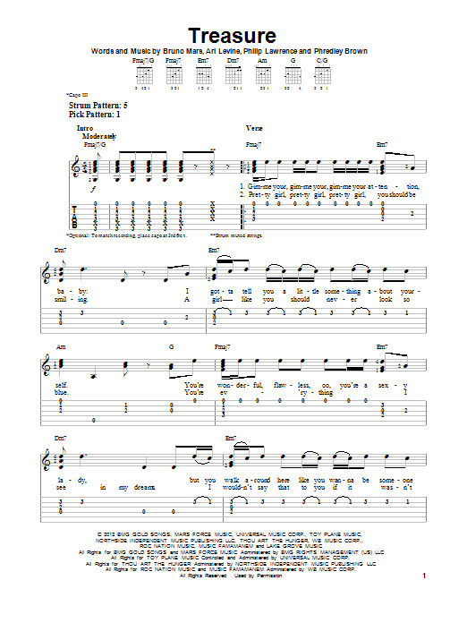 Bruno Mars Treasure Sheet Music Notes Chords Printable Rock