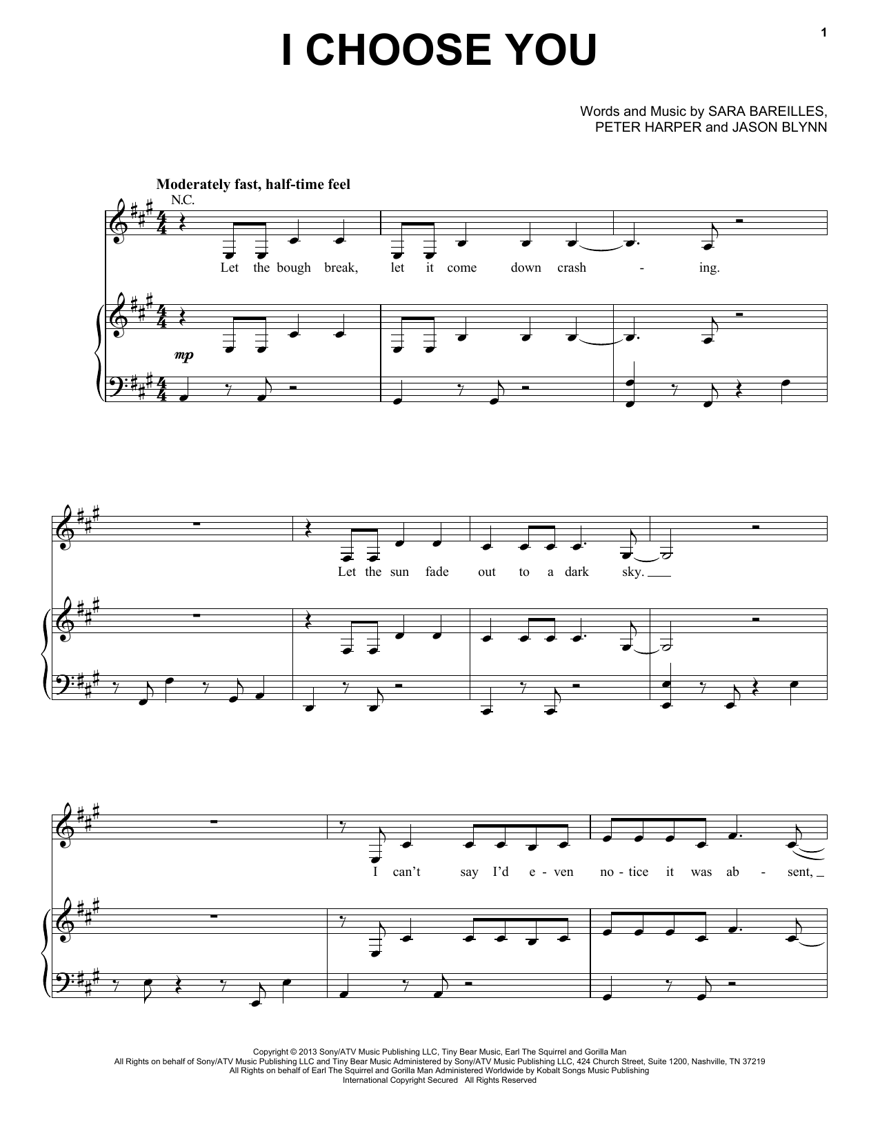 Sara Bareilles I Choose You Sheet Music Notes Chords Printable