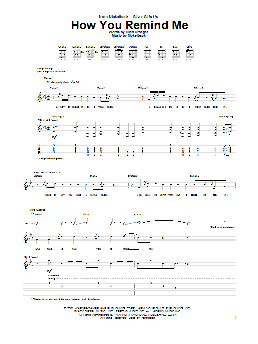 Nickelback How You Remind Me Sheet Music Notes Chords Printable