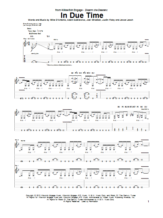 Killswitch Engage In Due Time Sheet Music Notes Chords