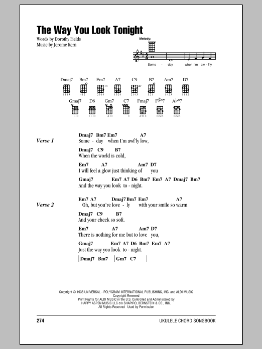Frank Sinatra The Way You Look Tonight Sheet Music Notes Chords
