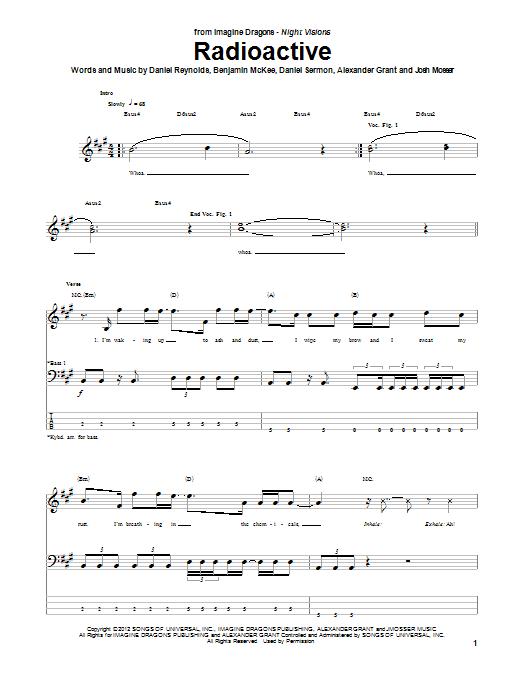 Imagine Dragons Radioactive Sheet Music Notes Chords Printable