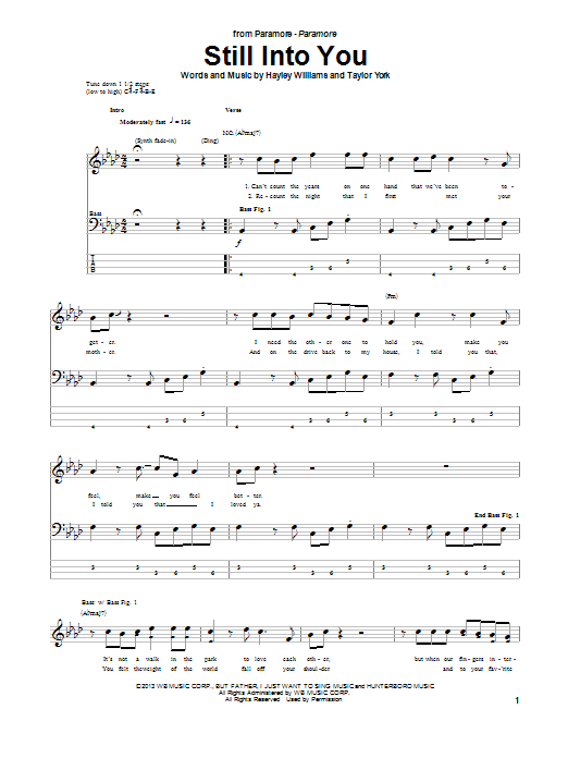 Paramore Still Into You Sheet Music Notes Chords Printable Rock