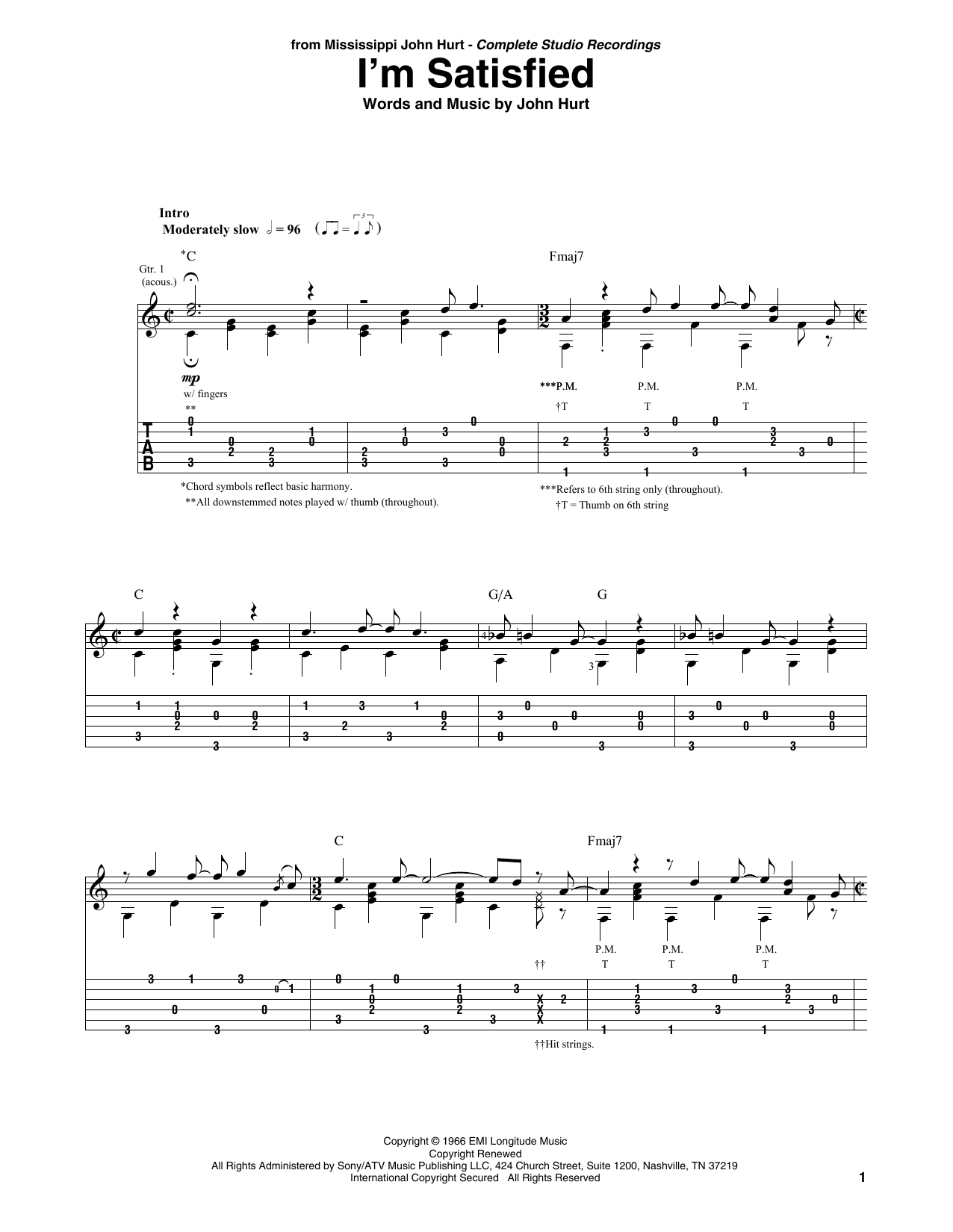 'Mississippi' John Hurt I'm Satisfied sheet music notes and chords. Download Printable PDF.