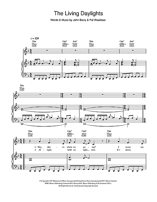 a-ha The Living Daylights sheet music notes and chords. Download Printable PDF.