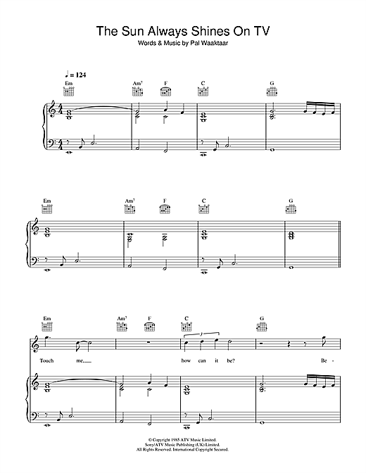 A-Ha The Sun Always Shines On TV sheet music notes and chords. Download Printable PDF.