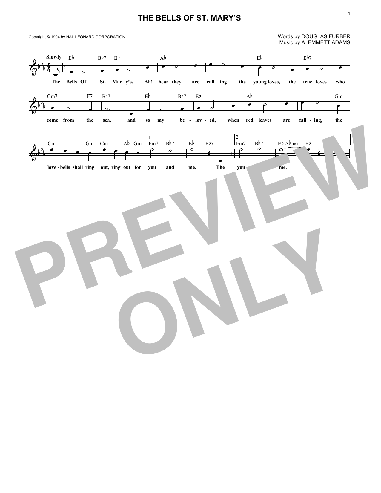 A. Emmett Adams The Bells Of St. Mary's sheet music notes and chords. Download Printable PDF.