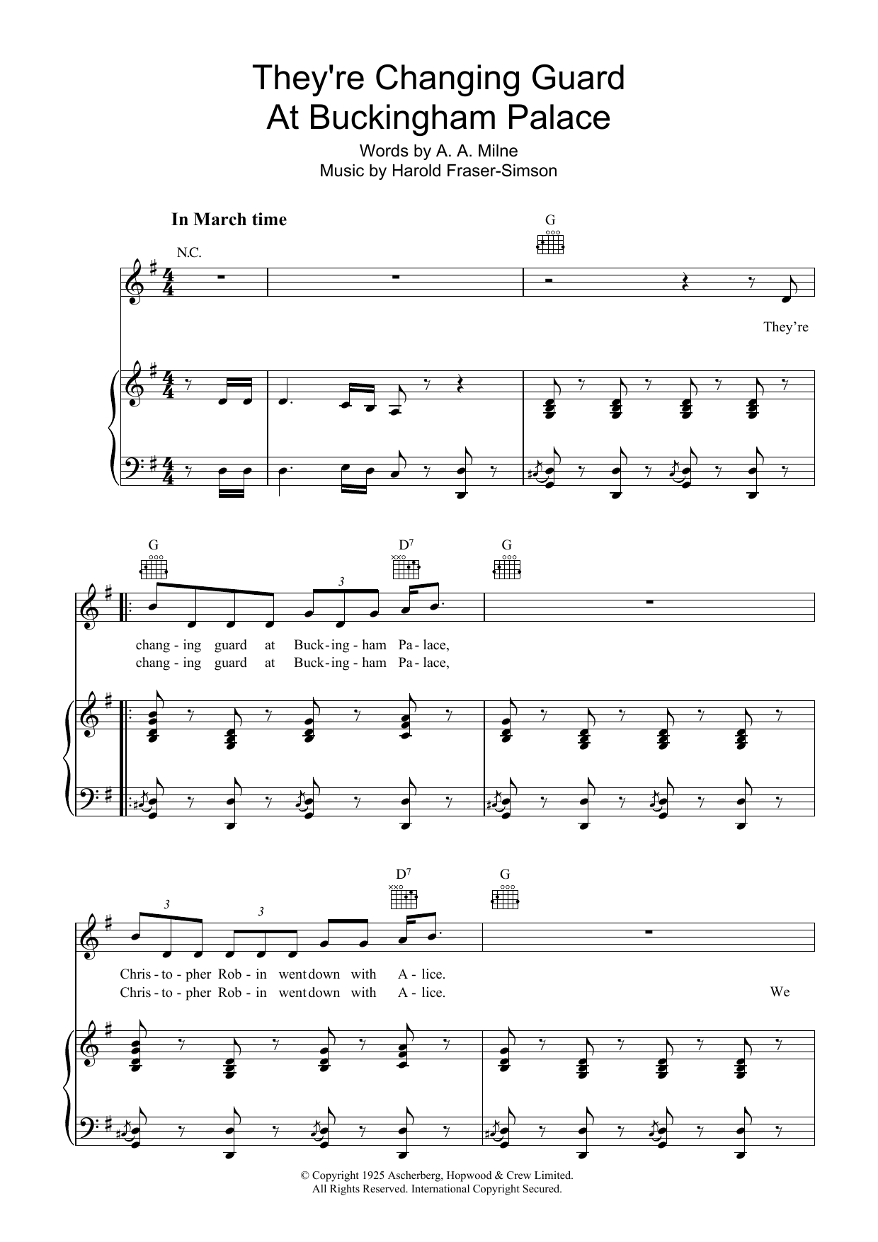 A.A. Milne They're Changing Guard At Buckingham Palace sheet music notes and chords. Download Printable PDF.