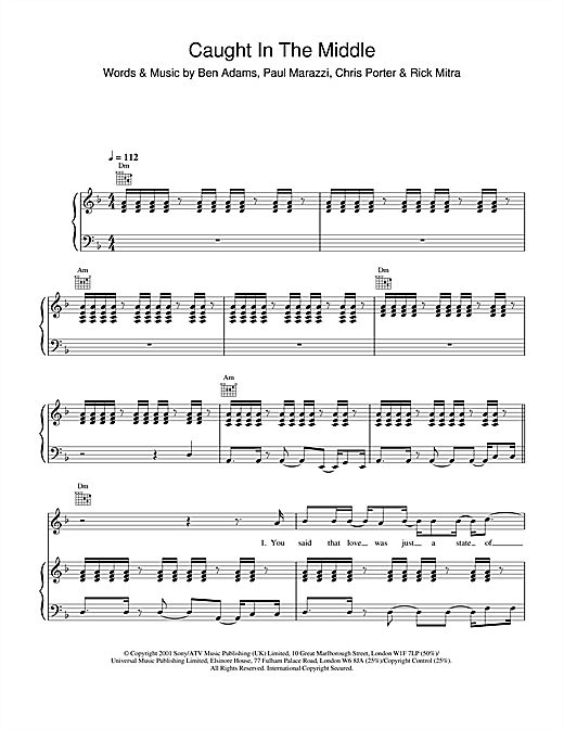 A1 Caught In The Middle sheet music notes and chords. Download Printable PDF.