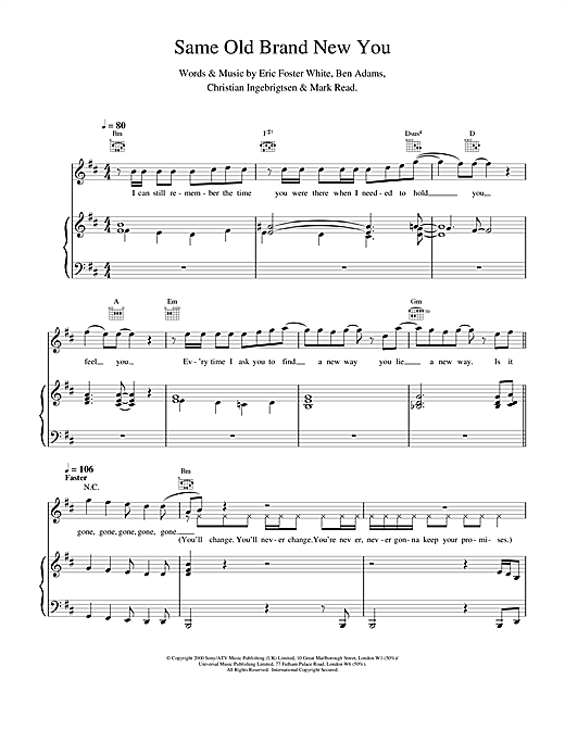 A1 Same Old Brand New You sheet music notes and chords