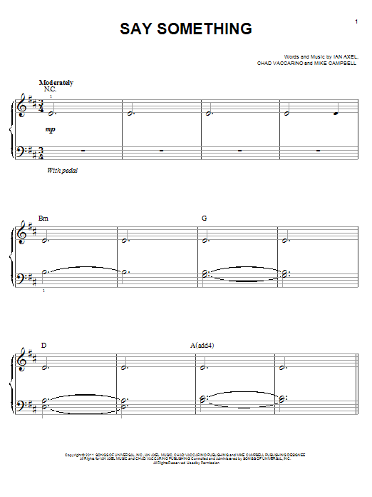 A Great Big World Say Something sheet music notes and chords