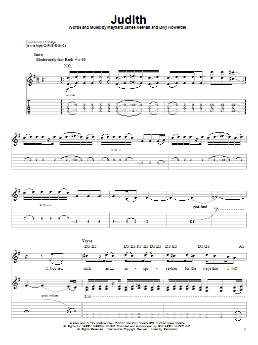 A Perfect Circle Judith sheet music notes and chords. Download Printable PDF.