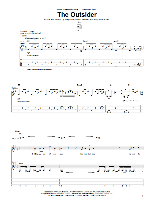 A Perfect Circle The Outsider sheet music notes and chords. Download Printable PDF.