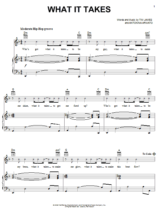 Aaron Doyle What It Takes sheet music notes and chords. Download Printable PDF.