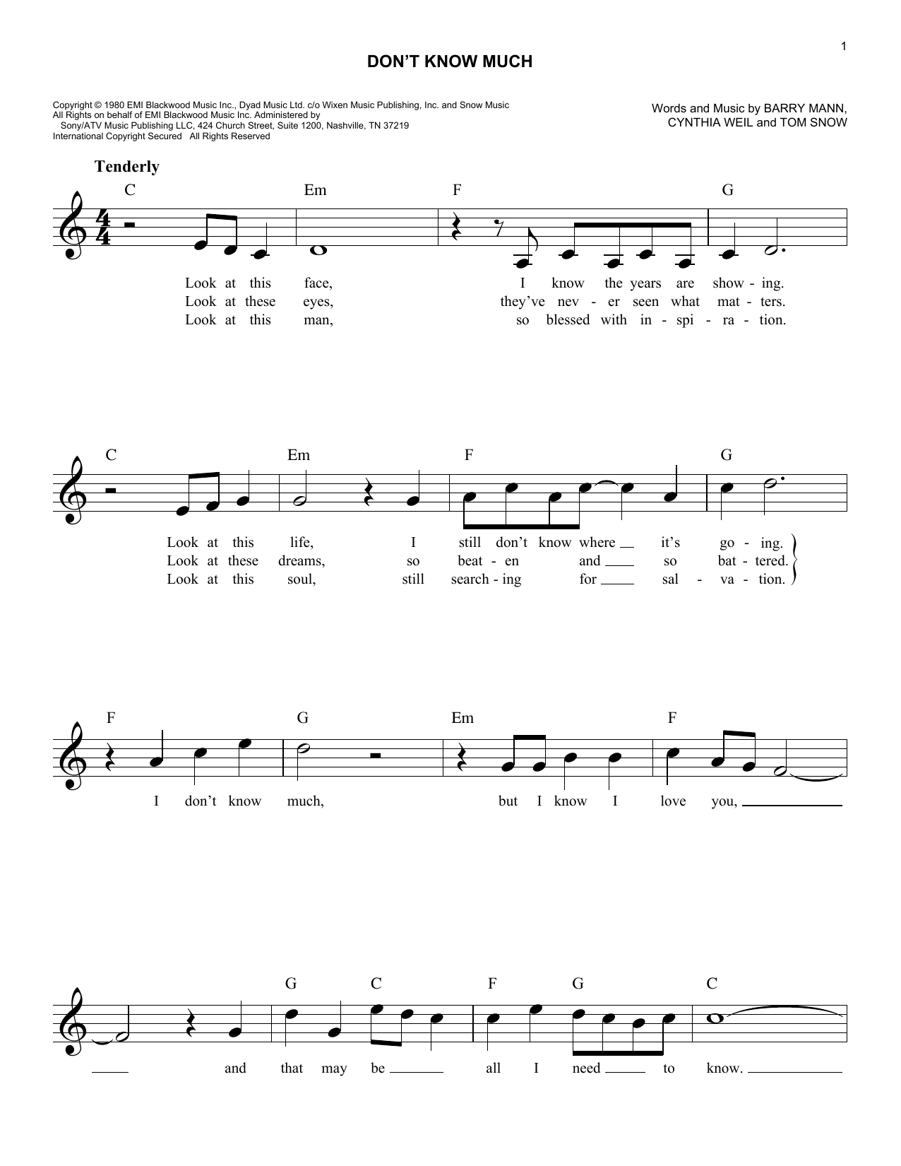 Aaron Neville and Linda Ronstadt Don't Know Much sheet music notes and chords. Download Printable PDF.