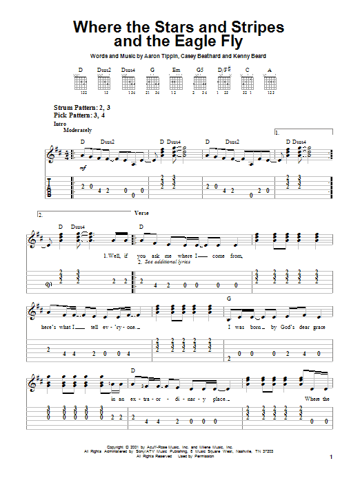 Aaron Tippin Where The Stars And Stripes And The Eagle Fly sheet music notes and chords. Download Printable PDF.