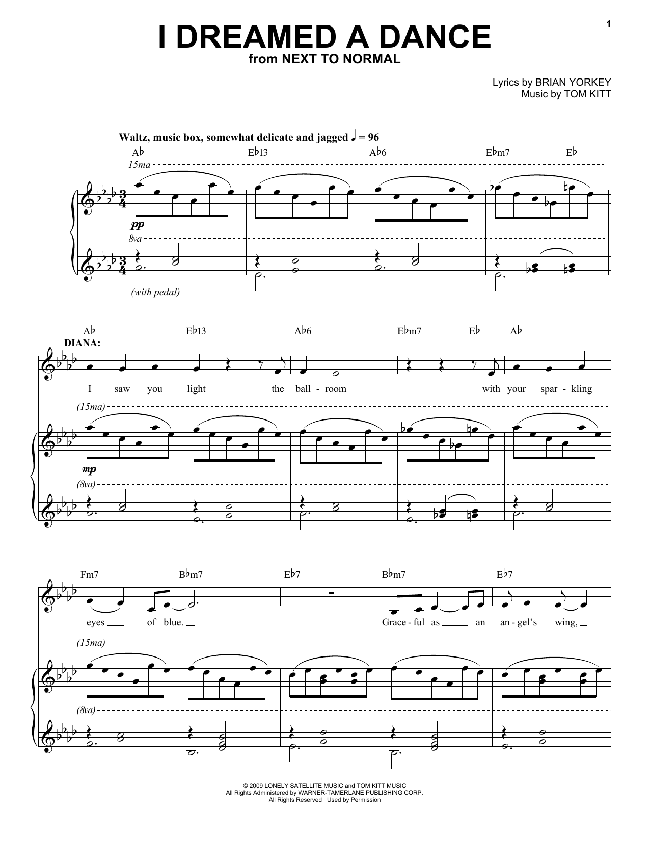 Aaron Tveit I Dreamed A Dance (from Next to Normal) sheet music notes and chords. Download Printable PDF.