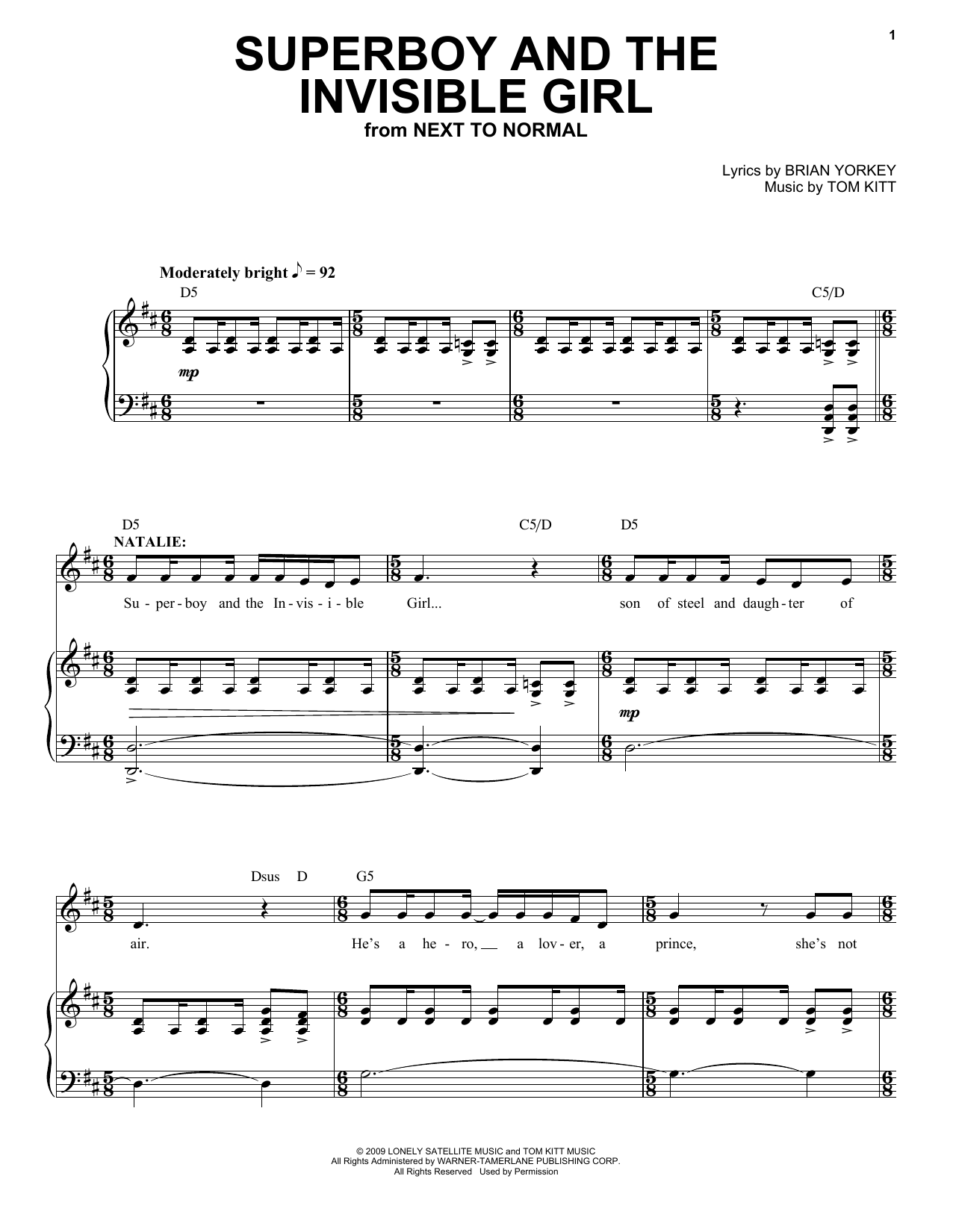 Aaron Tveit Superboy And The Invisible Girl (from Next to Normal) sheet music notes and chords
