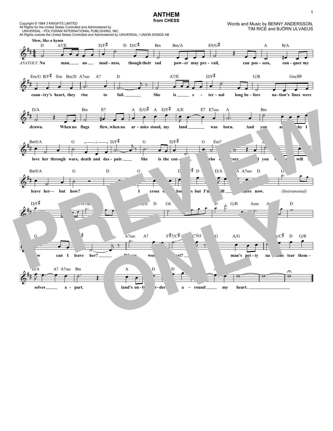 Abba Anthem Sheet Music Pdf Notes Chords Pop Score Lead Sheet
