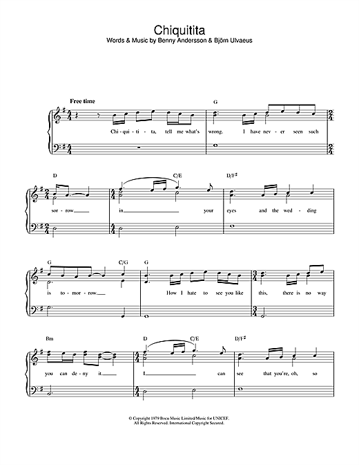 ABBA Chiquitita sheet music notes and chords. Download Printable PDF.