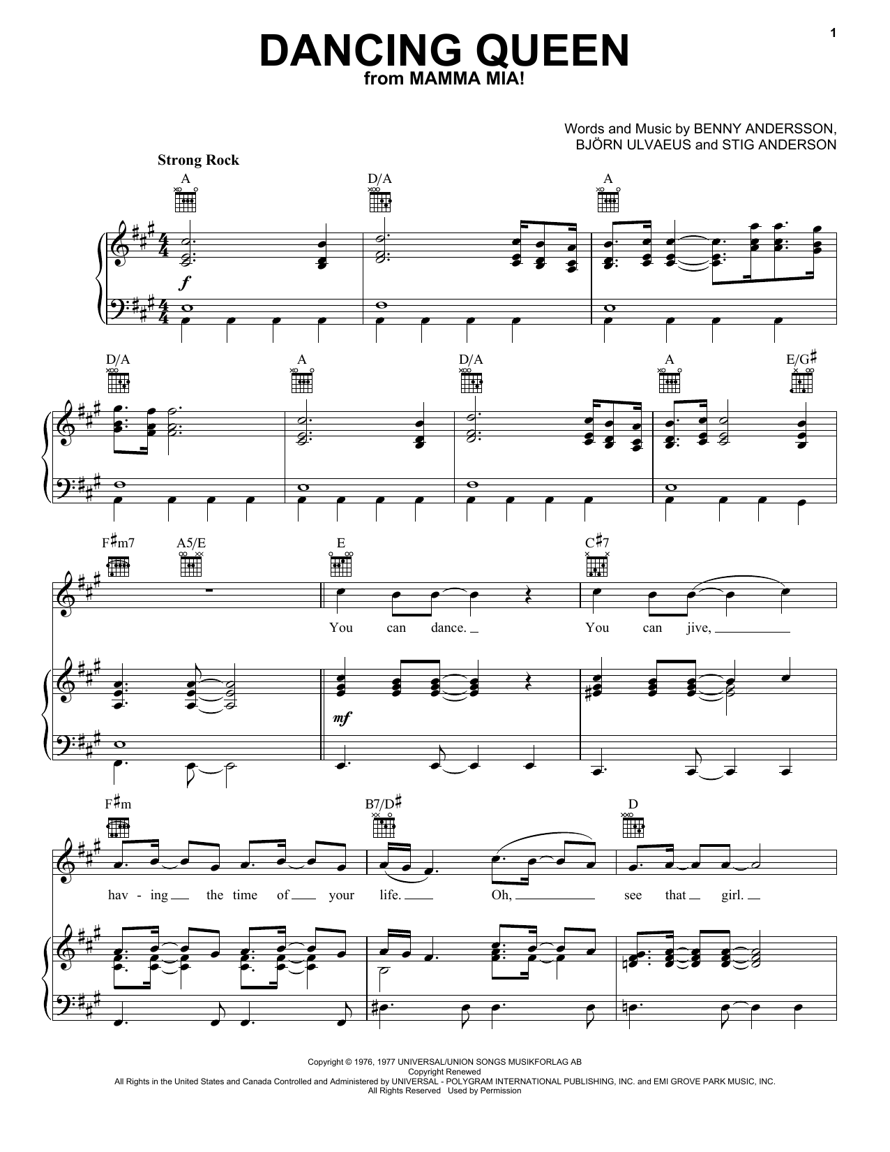 ABBA Dancing Queen sheet music notes and chords. Download Printable PDF.