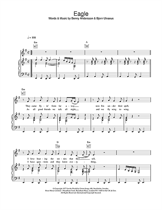 ABBA Eagle sheet music notes and chords