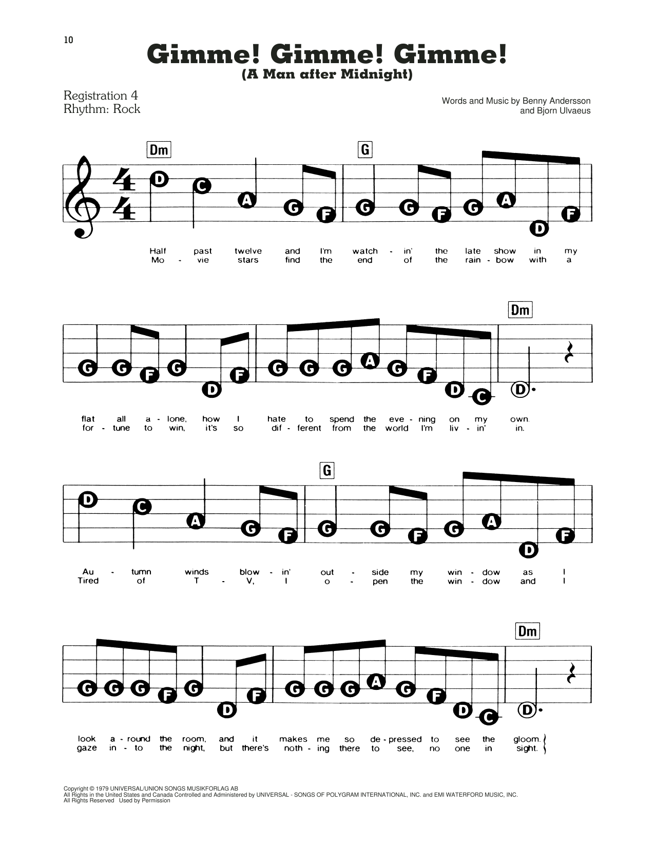 ABBA Gimme! Gimme! Gimme! (A Man After Midnight) (from Mamma Mia!) sheet music notes and chords. Download Printable PDF.