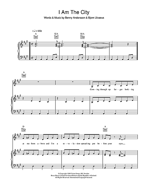ABBA I Am The City sheet music notes and chords. Download Printable PDF.