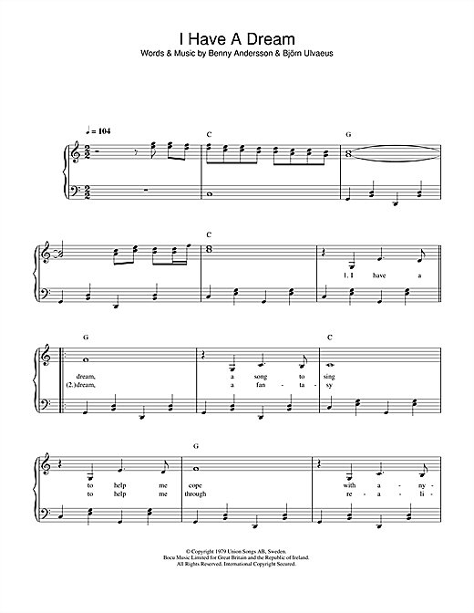 ABBA I Have A Dream sheet music notes and chords
