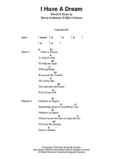 Abba I Have A Dream sheet music notes and chords. Download Printable PDF.