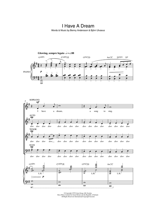 ABBA I Have A Dream (arr. Quentin Thomas) sheet music notes and chords. Download Printable PDF.