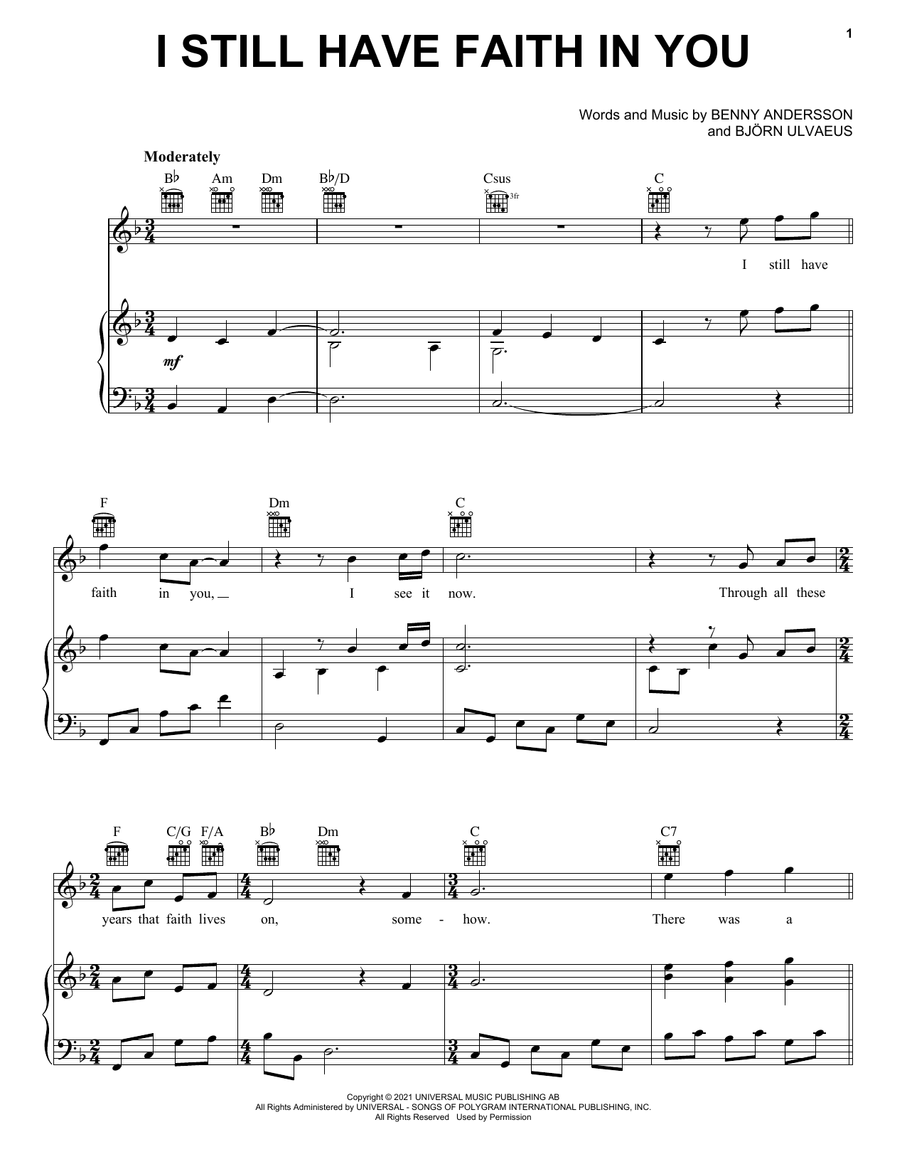 ABBA I Still Have Faith In You sheet music notes and chords. Download Printable PDF.